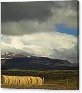 Panoramic Sunlit Straw Bales Canvas Print