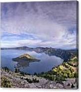 Panoramic View Of Crater Lake And Wizard Island Canvas Print