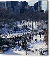 Panoramic View Of Ice Skating Wollman Canvas Print