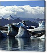 Panoramic View Of Icebergs And Glaciers Canvas Print