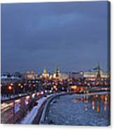 Panoramic View Of Moscow River And Kremlin - Featured 2 Canvas Print