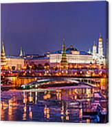 Panoramic View Of Moscow River And Moscow Kremlin  - Featured 3 Canvas Print