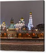 Panoramic View Of Moscow River And Moscow Kremlin In Wintertime Canvas Print