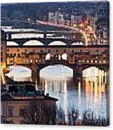 Panoramic View Of Ponte Vecchio - Florence - Tuscany Canvas Print