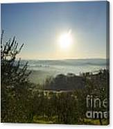 Panoramic View Over The Foggy Field Canvas Print