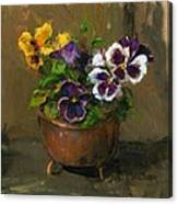 Pansies In Copper Pot Canvas Print