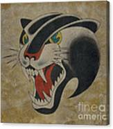 Traditional Tattoo Panther  Canvas Print