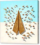 Paper Airplanes Of Wood 10 Canvas Print