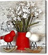 Paper Bouquet And Rocking Birds Canvas Print