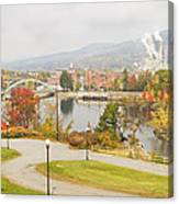 Paper Mill And Fall Colors In Rumford Maine Canvas Print