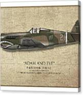 Pappy Boyington P-40 Warhawk - Map Background Canvas Print