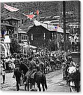 Parade Bisbee Arizona July 4th 1909 Color Added 2013 Canvas Print