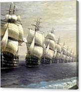Parade Of The Black Sea Fleet In 1849 Canvas Print