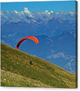 Paragliding In The Mountains Canvas Print