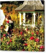 Parasol In Rose Garden Canvas Print
