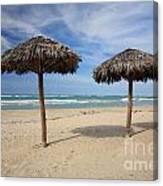 Parasols On Varadero Beach Canvas Print