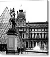 Paris Black And White Photography - Louvre Museum Pyramid Black White Architecture Landmark Canvas Print