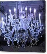 Paris Blue Crystal Chandelier Sparkling Chandelier Art - Paris Blue Shimmering Chandelier Art Deco  Canvas Print