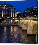 Paris Blue Hour - Pont Neuf Bridge And La Samaritaine Canvas Print