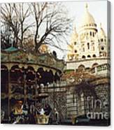 Paris Carousel Merry Go Round Montmartre - Carousel At Sacre Coeur Cathedral  Canvas Print