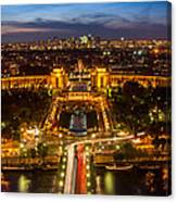 Paris City From The Eiffel Tower Canvas Print