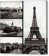 Paris Collage - Black And White Canvas Print
