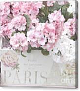 Paris Pink Flowers, Parisian Shabby Chic Paris Flower Box - Paris Floral Decor Canvas Print