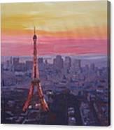 Paris Eiffel Tower At Dusk Canvas Print