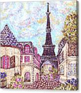 Paris Eiffel Tower Skyline Inspired Pointillist Landscape Canvas Print