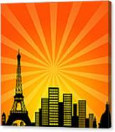 Paris France Downtown City Skyline Canvas Print