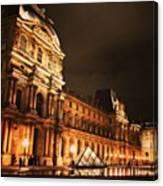 #paris #france #louvre #night Canvas Print