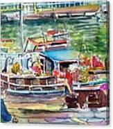 Paris House Boat Canvas Print