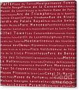 Paris In Words Red Canvas Print
