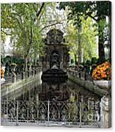 Paris Jardin Du Luxembourg Gardens Autumn Fall  - Medici Fountain Sculpture Autumn Fall Photographs Canvas Print