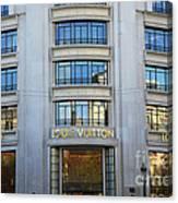 Paris Louis Vuitton Fashion Boutique - Louis Vuitton Designer Storefront In Paris Canvas Print