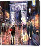 Paris Miting Point Arc De Triomphie Canvas Print