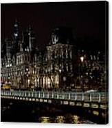 Paris Night Along The Seine Canvas Print