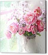 Paris Peonies Roses Shabby Chic Art - Romantic Paris Peonies And Roses Impressionistic Floral Art Canvas Print