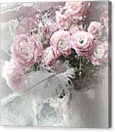 Paris Pink Impressionistic French Roses And Ranunculus - Shabby Chic Romantic Pink Flowers Canvas Print