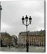 Paris Place Vendome Architecture Monuments Street Lamps And Buildings  Canvas Print