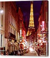 Paris Romantic Night Lights Canvas Print