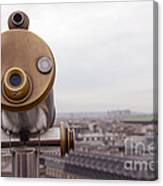 Paris Rooftops Telescope View Of Eiffel Tower - Paris Telescope Rooftop Eiffel Tower View Canvas Print