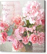 Paris Shabby Chic Dreamy Pink Peach Impressionistic Romantic Cottage Chic Paris Flower Photography Canvas Print