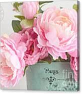 Paris Peonies Shabby Chic Dreamy Pink Peonies Romantic Cottage Chic Paris Peonies Floral Art Canvas Print