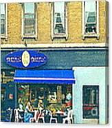 Paris Style French Bistro Art Sidewalk Cafe Terrace  Antique Shop C Spandau Montreal City Paintings Canvas Print