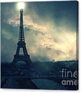 Paris Surreal Eiffel Tower Storm Clouds Sun Setting - Teal Aqua Dark Green Eiffel Tower Landscape Canvas Print