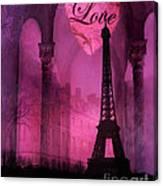 Paris Romantic Pink Fantasy Love Heart - Paris Eiffel Tower Valentine Love Heart Print Home Decor Canvas Print