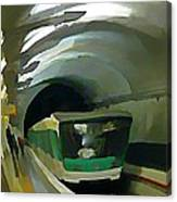 Paris Train In Fisheye Perspective Canvas Print