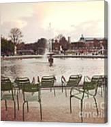 Paris Tuileries Garden Park Fountain Green Chairs - Paris Autumn Fall Tuileries - Autumn In Paris Canvas Print