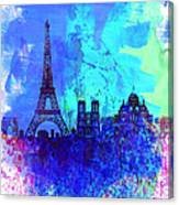 Paris Watercolor Skyline Canvas Print